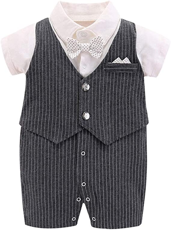Miyanuby Romper for Baby Boy Gentlemanlike Style Short Sleeve Striped One-Pieces Bodysuit Jumpsuit Playsuit Baby Boy Clothes for 0-12 Months