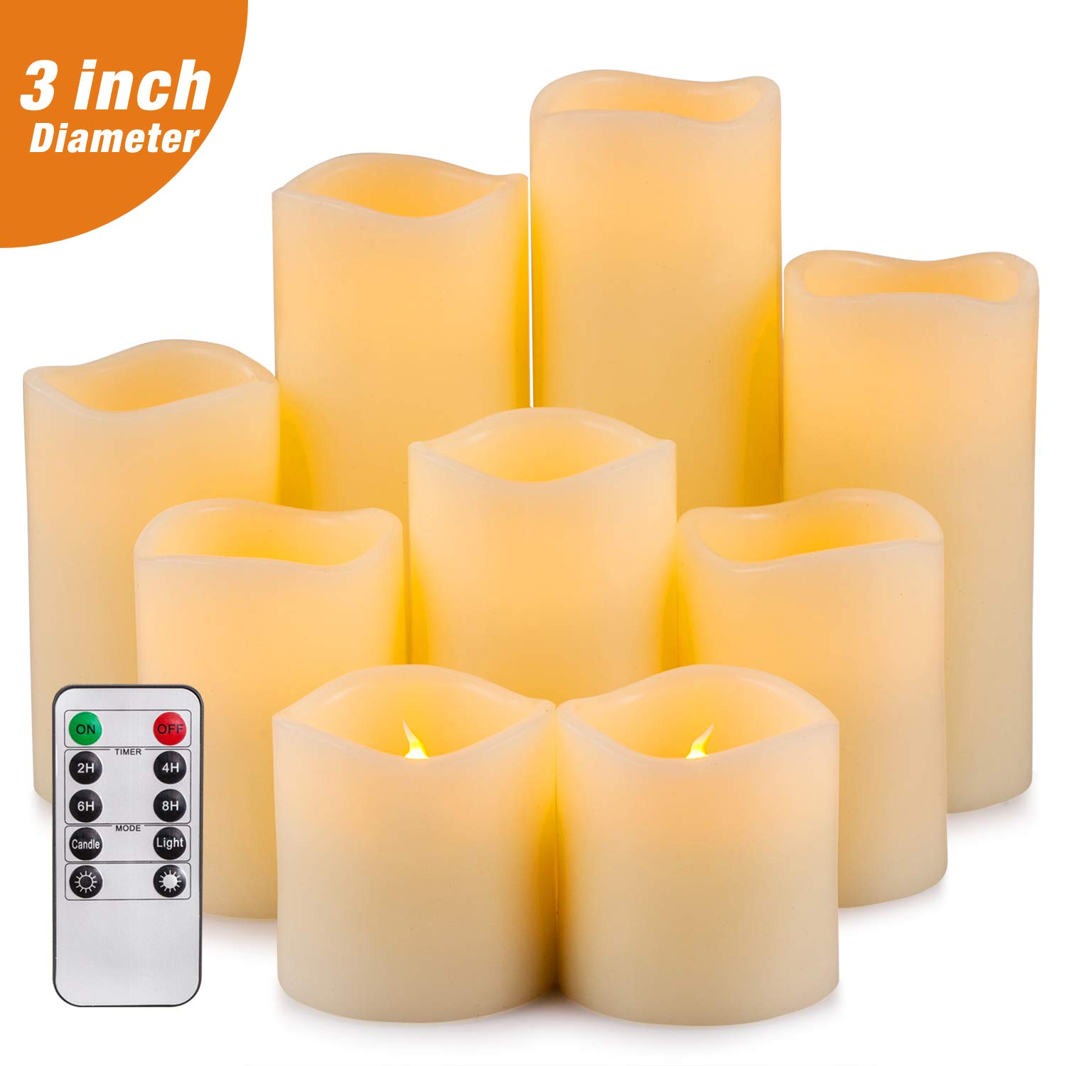 "Yutime Flameless Candle Set of 9 (D 3"" x H 3"" 4"" 5"" 6"" 7"" 8"") Battery Operated LED Pillar Real Wax Flickering Candles with Remote Control Timer"