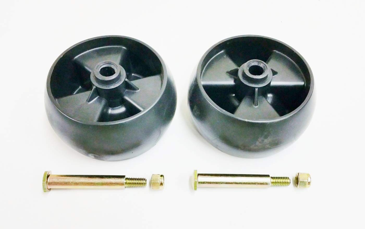 Set of 2, Deck Wheels Replace 734-04155, Bolt Replaces 938-3056 Plus  Locknuts  MTD, Cub Cadet, Troy Bilt, White