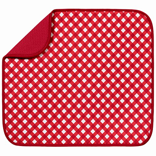 S&T 411100 Microfiber Dish Drying Mat, 16 by 18-Inch, Red Gingham