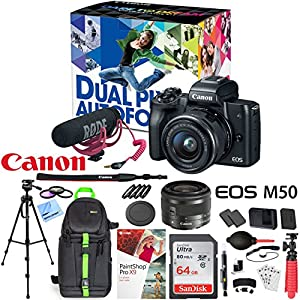 Canon EOS M50 Mirrorless Camera Body with 4K Video (Black) Deluxe 64GB Triple Battery Bundle with Shotgun Mic, Backpack, Tripod and More (Video Creator Kit)