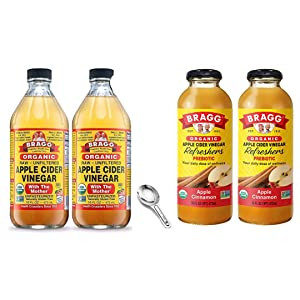Bragg Organic Apple Cider Vinegar With the Mother 16 Oz Pack of 2 w/ Measuring Spoon and Bragg Organic Apple Cinnamon Vinegar Drink 16 Oz Pack of 2 Bundle