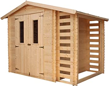 TIMBELA M386C Caseta de jardín con caseta de leña para exterior - Caseta de pino / abeto - H218 x 272 x 206 cm / 3, 53 + 0, 97 m2: Amazon.es: Jardín