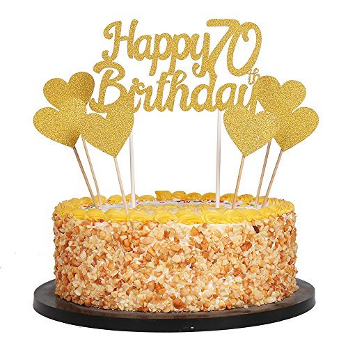 QIYNAO Gold Glittery Happy Birthday Cake Toppers and