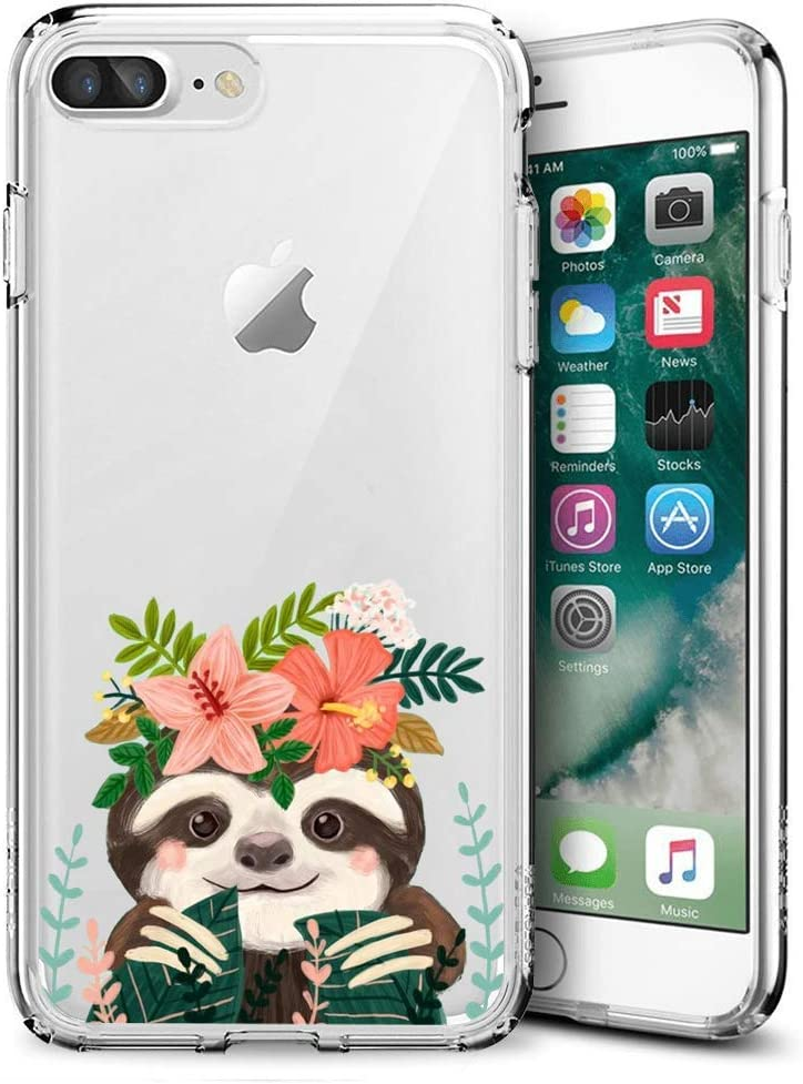 Slim Clear Cute Sloth Case for iPhone 7 Plus 8 Plus Customized Design Soft TPU and Rubber Flexible Durable Shockproof iPhone 7 Plus 8 Plus Protective Case-Anti-Slippery