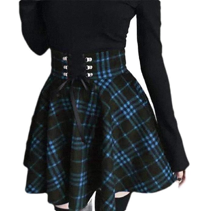dahuo Falda de Mujer de Cuadros clásicos con Cintura Alta Plisada ...