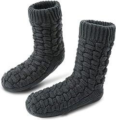 dfc1293c2c MaaMgic Men Girls Slipper Socks Non-Slip Thermal Fleece Lining Knit Knee  Socks Cute Cartoon