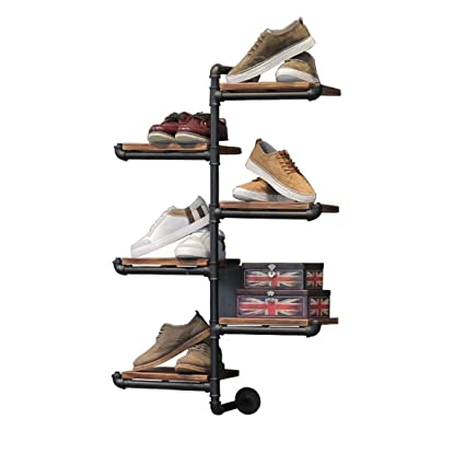 040fa44c3ca8 Warm Van Rustic Industrial Modern 6 Tier Ladder Design Wood & Metal Hanging  Shelves,DIY Wall Mounted Pipe Shelf,Organizer Storage Shoe Bag Photo ...