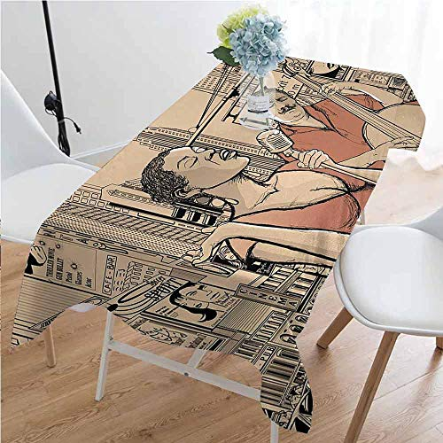 GloriaJohnson Jazz Music Waterproof Anti-Wrinkle no Pollution an Jazz Singer with Double-Bass Player in a Street of New York Urban Lifestyle Long Tablecloth W60 x L84 Inch Brown Beige (Best Double Bass Players)