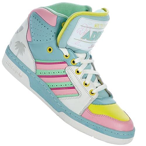 adidas originals jeremy scott license plate miami chaussures mode unisexe bleu vert rose