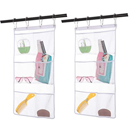 2 Pack Hanging Mesh Shower Caddy Organizer With 6 Pockets Curtain Rod Liner