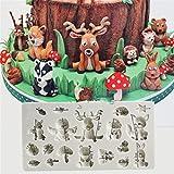 TraveT Silicone Rectangular Forest Animal Combination Cake Decorative Mold Ice Chocolate Mold