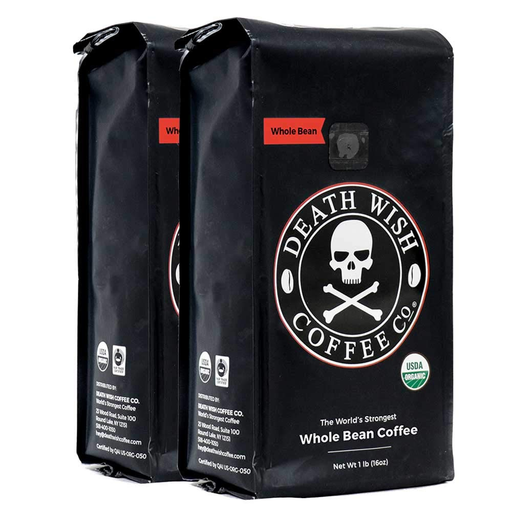 Death Wish Whole Bean Coffee Bundle Deal, The World's Strongest Coffee, Fair Trade and USDA Certified Organic - 2 lb by Death Wish Coffee
