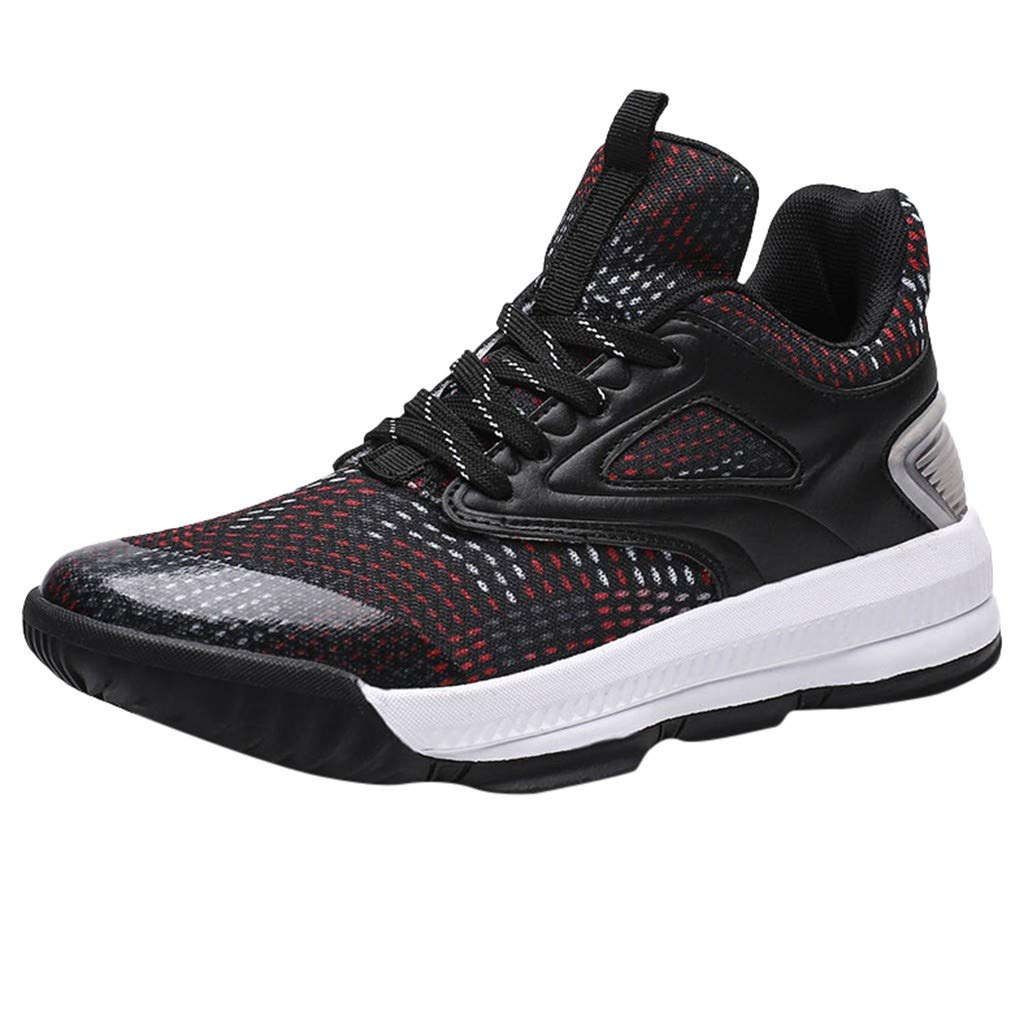Men Sneakers High Top Running Sports Boots Mesh Breathable Basketball Shoes Black
