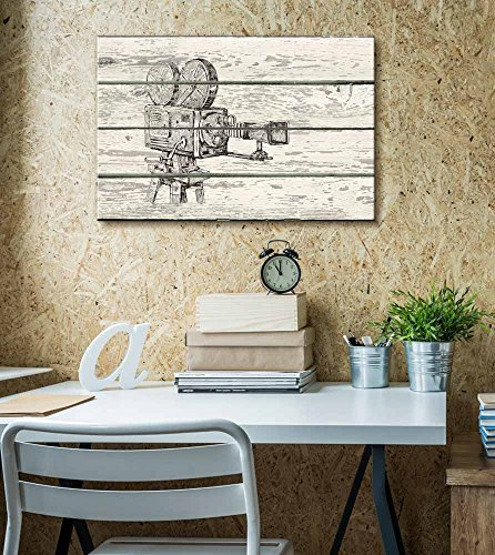 Crosshatch Movie Camera Reel to Reel Artwork Rustic