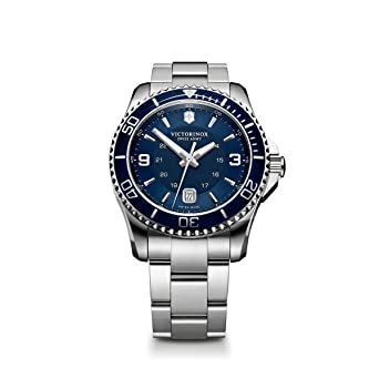 b74988475f5 Victorinox Swiss Army Men s 241602 Maverick Watch with Blue Dial and  Stainless Steel Bracelet