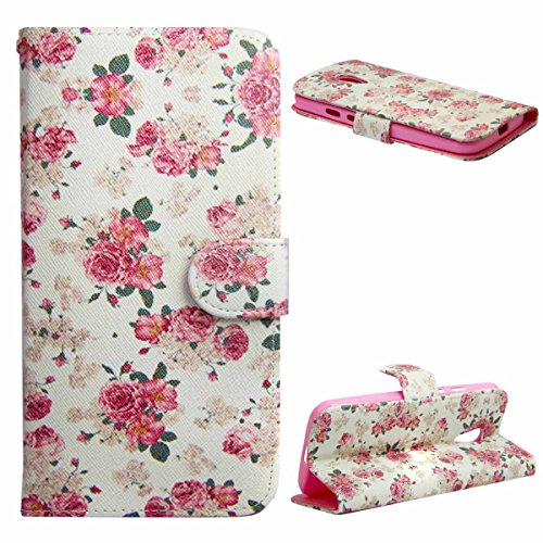Moto G2 Case,Moto G 2nd Gen Case,UZZO Design Slim Fit PU Leather Wallet Flip Case With Stand For Motorola Moto G 2nd Generation 2014 - Pink Floral (Moto X 1st Gen Case Flip)