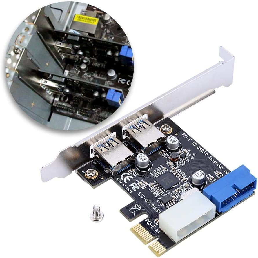 PCI-E to USB3.0 External Expansion Card Adapter with Front 19PIN Interface Jacksking Port Card