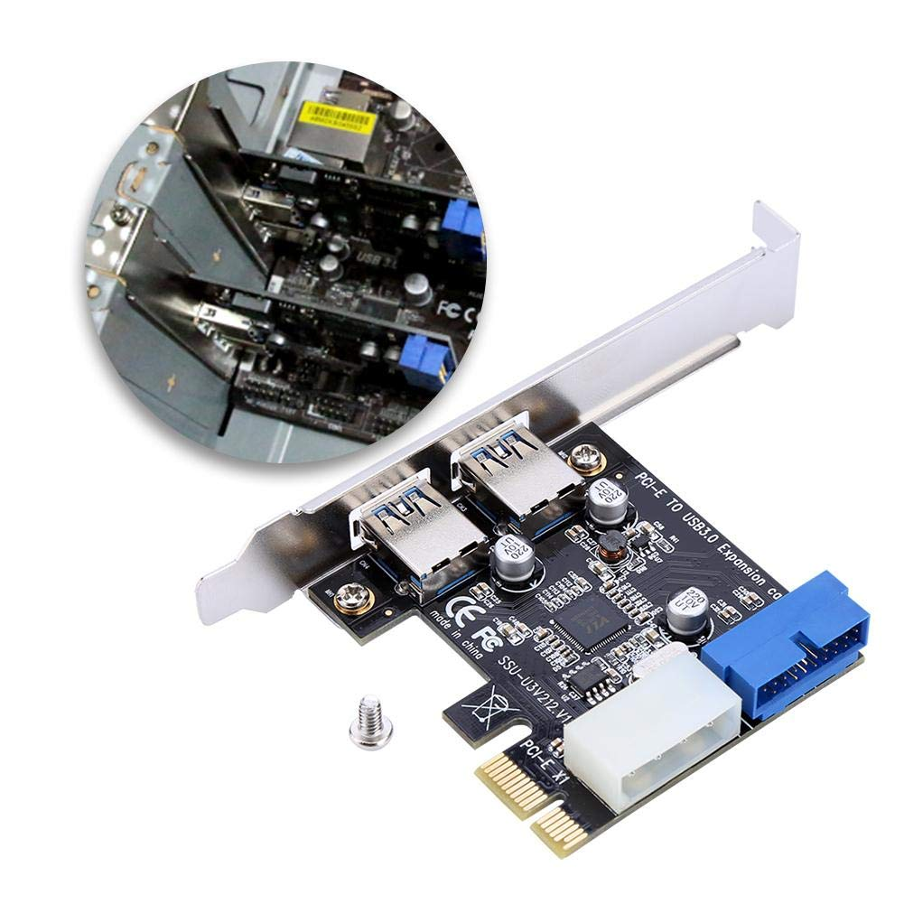 Richer-R Tarjeta de Expansión,Tarjeta PCI-E a USB3.0 Expansión Adaptador Tarjeta Compatible con Windows XP 32/64, Windows 7 32/64, Windows8, ...