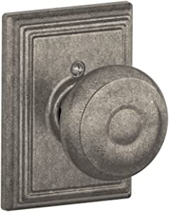 Schlage Lock Company Georgian Knob with Addison Trim Non-Turning Lock, Distressed Nickel (F170 GEO 621 ADD)