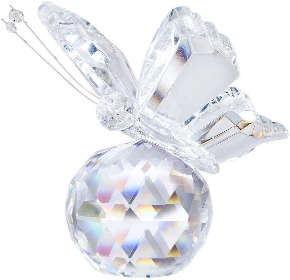H&D Crystal Flying Butterfly with Crystal Ball Base Figurine Collection Cut Glass Ornament Statue Animal Collectible (Clear)