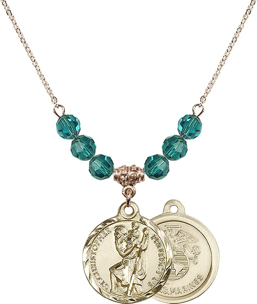 18-Inch Hamilton Gold Plated Necklace with 6mm Zircon Birthstone Beads and Gold Filled Saint Christopher Marines Charm.