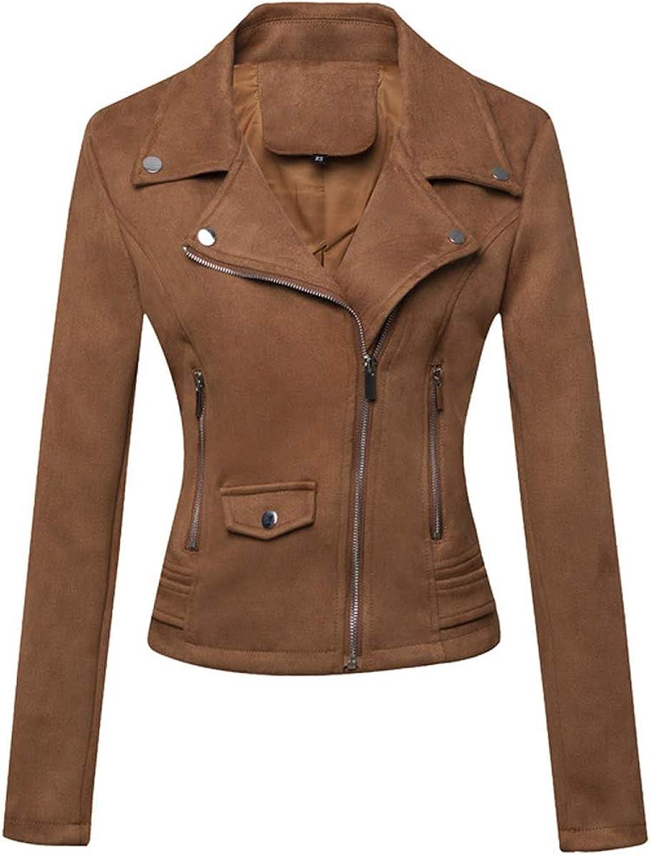 E-girl Chaqueta de piel de ante para mujer con cremallera y solapa, chaqueta corta P120-1