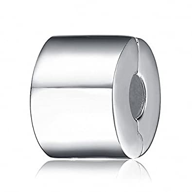 a6496d0f1 Round Clip Stopper Charms Genuine 925 Sterling Silver Clips Stoppers Bead  fits European Charms Bracelet (A): Amazon.co.uk: Jewellery