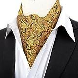 Stylefad Men's Woven Mirofiber Cravat Ascot Self Tie Gold Yellow Paisley
