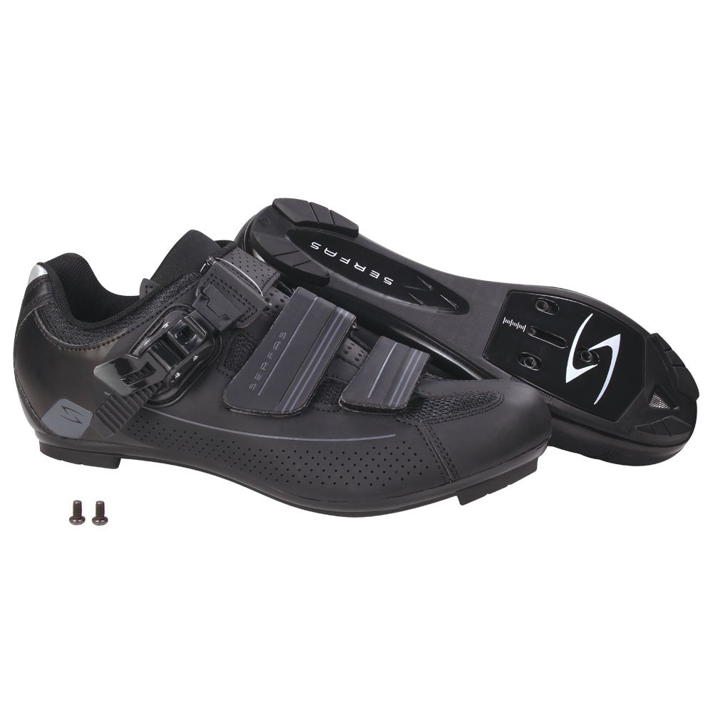 Serfas Women's Road Bike Leadout Buckle Cycling Shoes (SWR-501B & SWR-501W) (41, Black)
