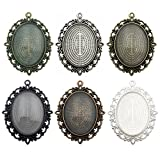 40x30mm Oval Clear Glass Cabochon Covers and Alloy Pendant Trays Cabochon Settings