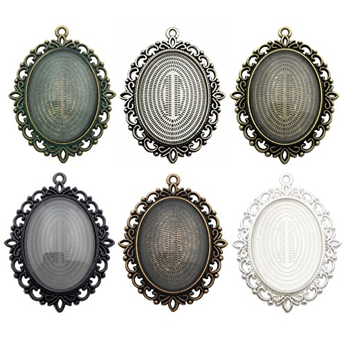 ZC-charms 6 Sets - Oval Blank Pendant Trays with 30x40mm Clear Glass Cabochons - Base Setting Blank Bezel Frame Cameo Metal Alloy Neckalce Jewelry Making DIY Findings (HM60)
