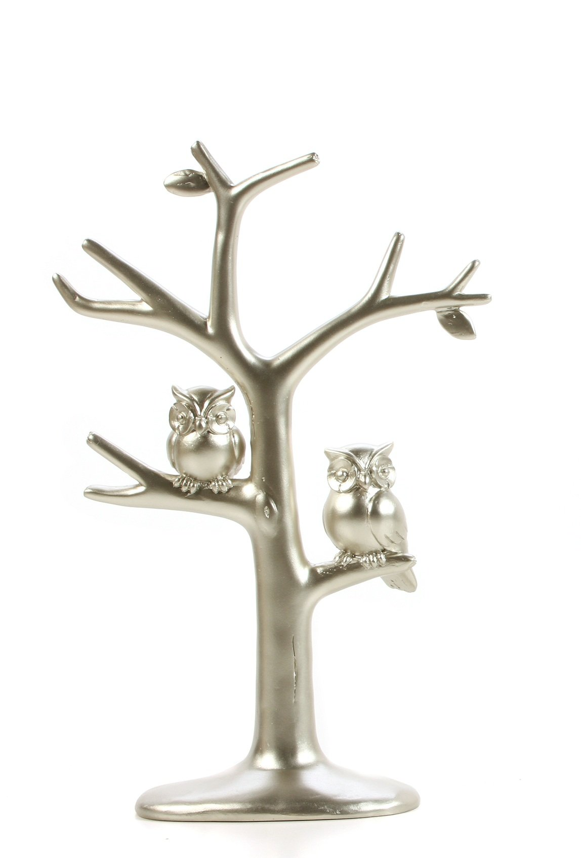 Hosley Decorative Metallic Owls Tree Jewelry Stand, 11.4'' H. Ideal Gift for Wedding, Home, Bathroom O9