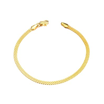 da57211f SISGEM 18k Gold Chain Bracelets for Women, Real Gold Italian Mesh Bracelet  (2.3-2.9 mm, 7 inch)