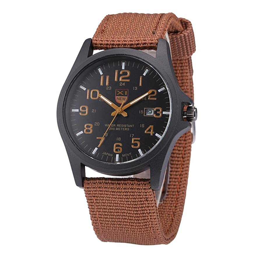 Amazon.com: Mens Quartz Watch,COOKI Unique Analog Business Casual Fashion Wristwatch, Luxury Design Watches with Round Dial Case,Comfortable Canvas Band-W32 ...