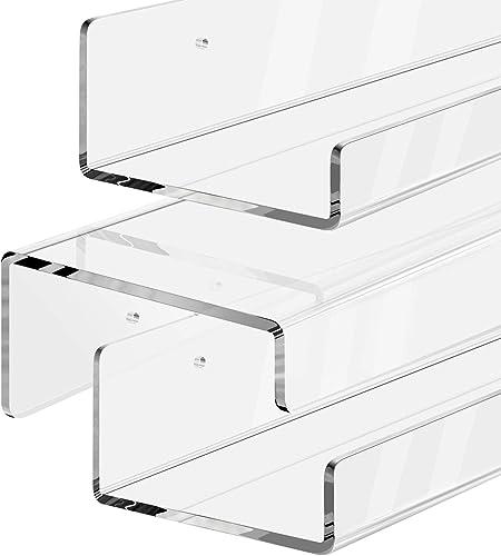 SRIWATANA Floating Wall Shelves, 2-Tier Rustic Wood Shelves for Bedoom, Bathroom, Living Room, Kitchen Carbonized Black