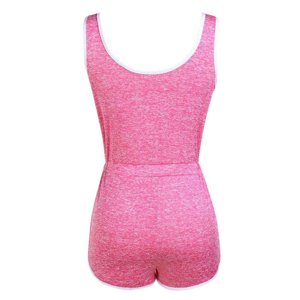 Desirepath Womens Summer Fashion Romper Solid Sleeveless Short Jumpsuits Playsuits Jogger Sweatpants