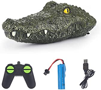 Rosydream Crocodile Head Floating RC Boat 2.4G Crocodile Electric Boat Toy Four-Way High-Speed Waterproof Remote Control Watercraft Toy for Summer Water Fun
