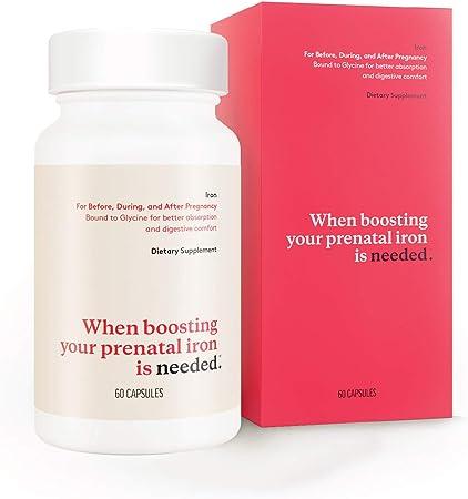 Needed Iron for Prenatal, Pregnancy, Breastfeeding, Postpartum   Thyroid Function, Immune Support, Energy, Birth Weight, Baby's Neural Development   60ct