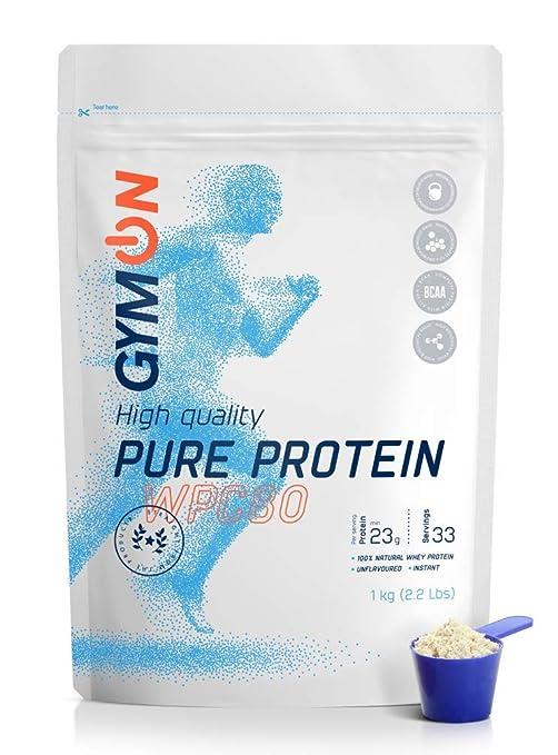 GymON PURE Concentrado de proteína de suero de leche, sin sabor, en polvo,