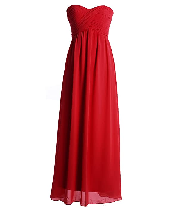 Fashion Plaza Strapless Lace up Evening Bridesmaids Dresses D003 (US4, Red) at Amazon Womens Clothing store: Long Bridesmaid Dresses