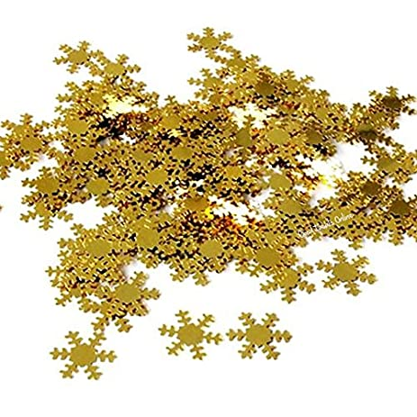 Gold Snowflake Sprinkles Confetti For Winter Frozen Themed Party Christmas Cards Table Decoration