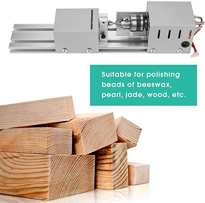 EU Plug 220V Mini machine de perles de CNC de tour machine de meulage de tour /à bois bricolage meulage outil de forage de polissage Machine de tour de perle
