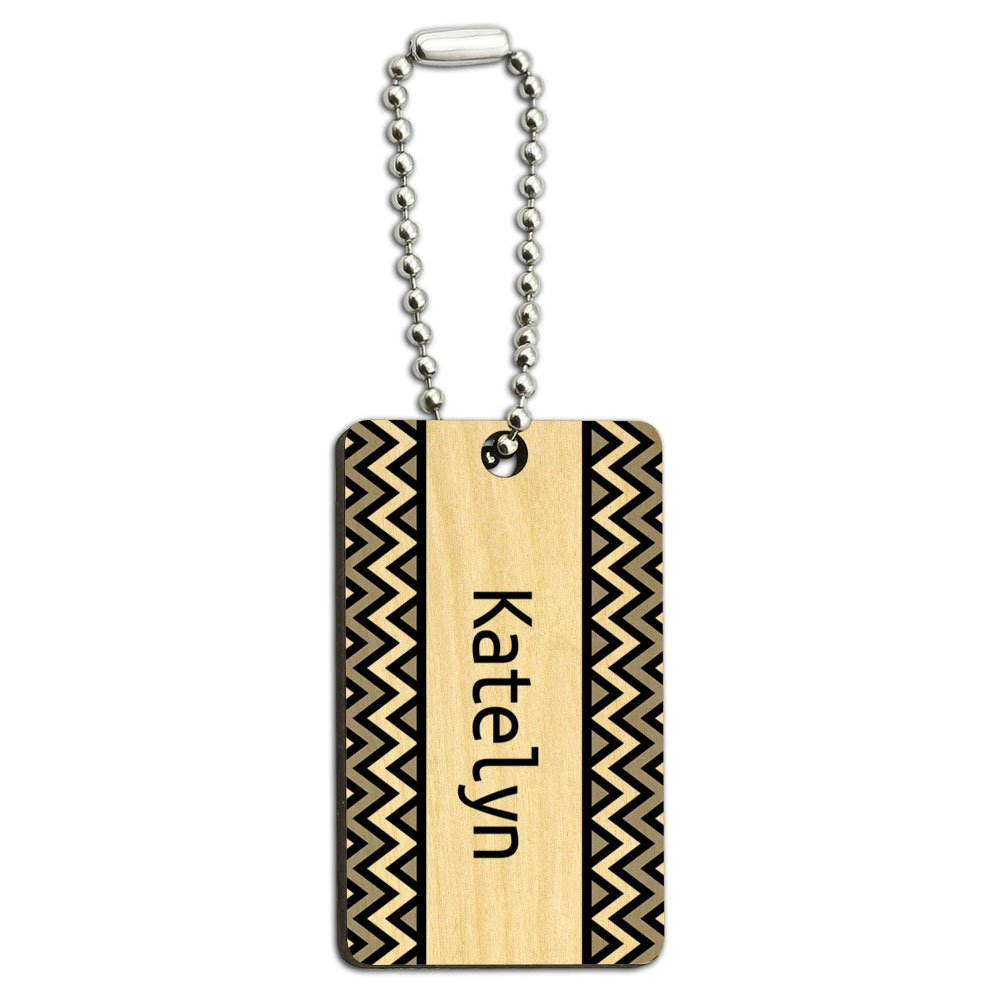 Katelyn Black and Grey Chevrons Wood Wooden Rectangle Key Chain