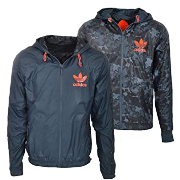 753274316838 Adidas Originals Mens Navy Camo Reversible Hooded Windbreaker Jacket - M   Amazon.co.uk  Sports   Outdoors