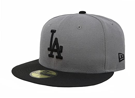 29543c4bbdc New Era 59Fifty MLB Basic Los Angeles Dodgers Gray Black Fitted Headwear Cap  (6