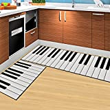 DeMissir Non-Slip 2-pcs Set Kitchen Rugs Bedroom Doormat (50x80cm+50x160cm, Piano Keys)
