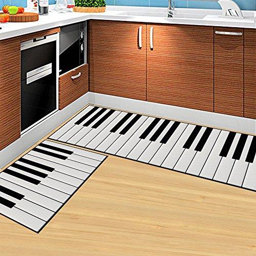 Piano White Rug (DeMissir Non-slip 2-pcs set Kitchen Rugs Bedroom doormat (40x60cm+40x120cm, piano keys))