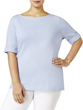 Karen Scott Womens Plus Heathered Cuff Sleeves T-Shirt
