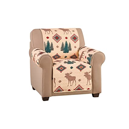Amazon.com: Collections Etc Woodland Furniture Protector Cover With Moose U0026  Pine, Chair: Home U0026 Kitchen